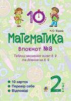 Будна Наталя Олександрівна Математика : 2 кл. : Зошит №8. Таблиці множення чисел 8, 9 та ділення на 8, 9. 2005000008375
