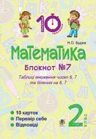 Будна Наталя Олександрівна Математика : 2 кл. : Зошит №7. Таблиця множення чисел 6, 7 та ділення на 6, 7. 2005000008368