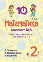 Будна Наталя Олександрівна Математика : 2 кл. : Зошит №6. Таблиця множення чисел 4, 5 та ділення на 4, 5, 2005000008351